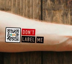 an image of the unlabel tattoo sticker with the text don't label me and the qr code which leads to the campaign microsite.